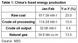 China's fossil energy