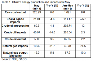 China's energy production and imports until May